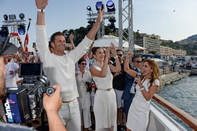 Tom Brady, Bella Hadid and Geri Halliwell Horner attend the TAG Heuer event during