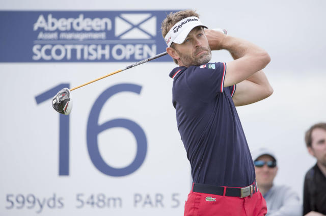 France's Raphael Jacquelin tees off at the 16th hole during day three of the Scottish Open at Gullane Golf Club, Gullane, Scotland, Saturday July 11, 2015. (Kenny Smith/PA via AP) UNITED KINGDOM OUT NO SALES NO ARCHIVE