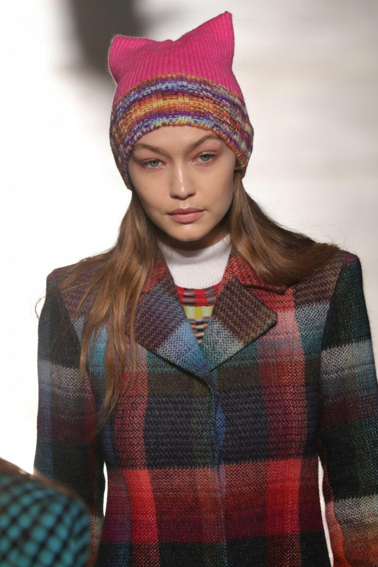 Gigi Hadid wears a Women's March-inspired pussy hat on the Missoni runway in Milan. (Photo: Getty Images)