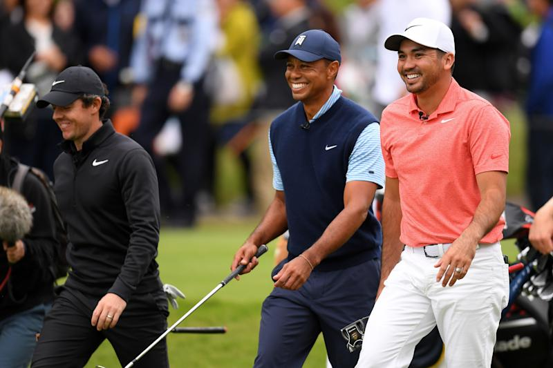 INZAI, JAPAN - OCTOBER 21: (L to R) Rory McIlroy of Northern Ireland, Tiger Woods of the United States and Jason Day of Australia share a laugh on the 3rd hole during The Challenge: Japan Skins at Accordia Golf Narashino Country Club on October 21, 2019 in Inzai, Chiba, Japan. (Photo by Atsushi Tomura/Getty Images)