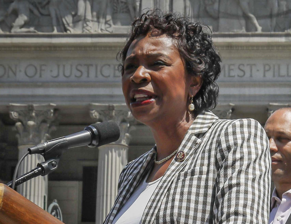 FILE - In this July 19, 2019, file photo, U.S. Rep. Yvette Clarke, D-N.Y., speaks at a news conference, in New York. Congressional leaders and a media accountability organization are urging the Federal Communications Commission to examine how policy decisions have disparately harmed Black people and other communities of color, according to a letter sent Tuesday, June 29, 2021, to the acting FCC chair. (AP Photo/Bebeto Matthews, File)