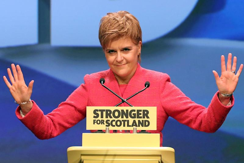 First Minister Nicola Sturgeon speaks at the SNP Spring Conference in Aberdeen: PA