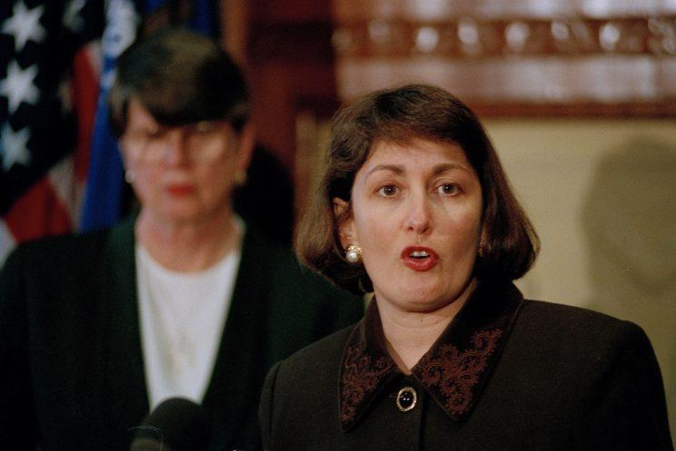 Jamie Gorelick, accompanied by Attorney General Janet Reno, in 1994 after Reno announced that President Bill Clinton would nominate Gorelick to become deputy attorney general. (Photo: Shayna Brennan/AP)
