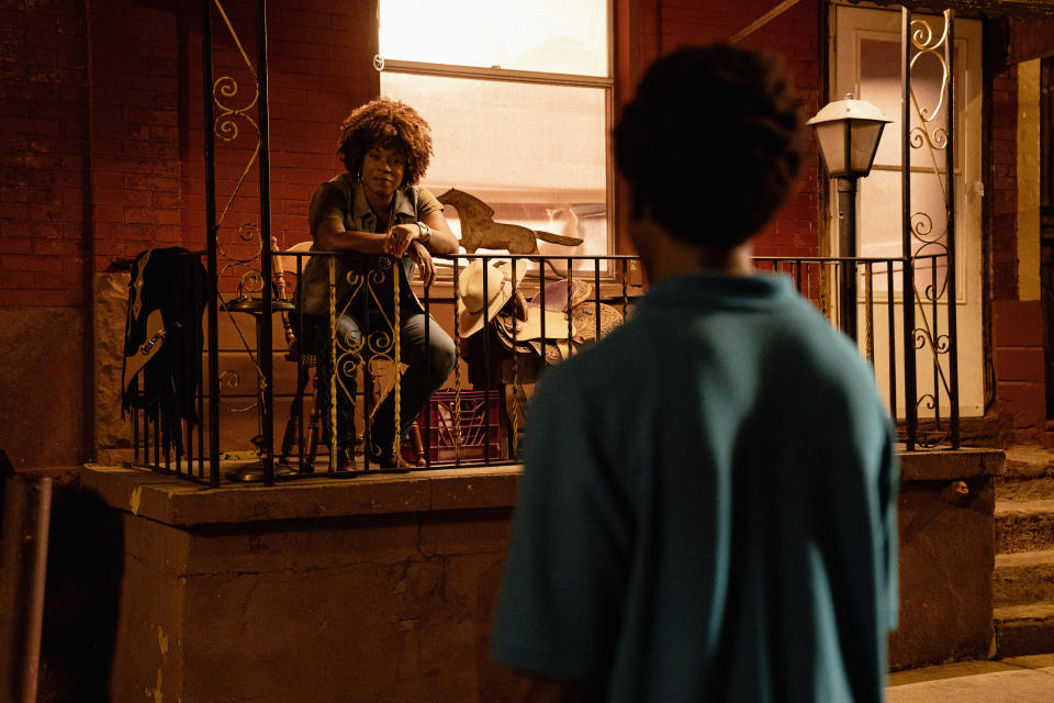 """This image released by Netflix shows Lorraine Toussaint, left, and Caleb McLaughlin in a scene from """"Concrete Cowboys."""" (Jessica Kourkounis/Netflix via AP)"""