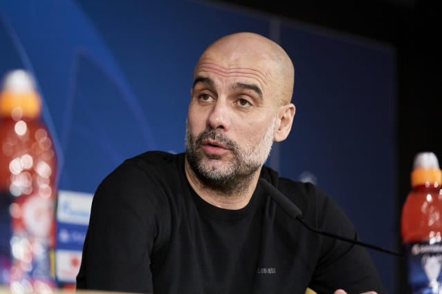 Pep Guardiola attends to Manchester City Press Conference at Santiago Bernabeu. (Photo by A. Ware/NurPhoto via Getty Images)