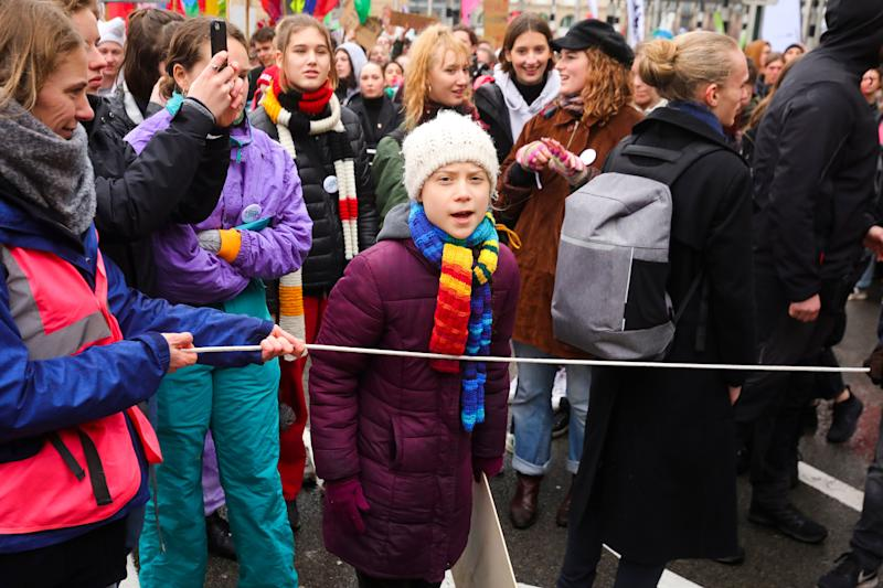 Swedish climate activist Greta Thunberg marches at a climate change protest in Brussels on March 6, 2020.  (Photo: ASSOCIATED PRESS)