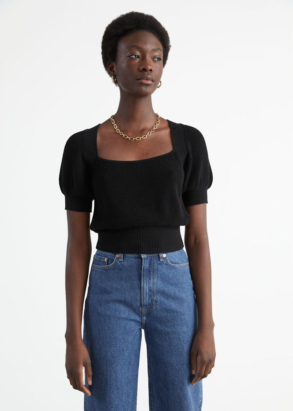 <p>We love the modern simplicity of this <span>&amp; Other Stories Puff Sleeve Cut Out Sweater</span> ($89).</p>