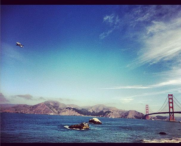 Shuttle over the Golden Gate Bridge by @chrisdyball