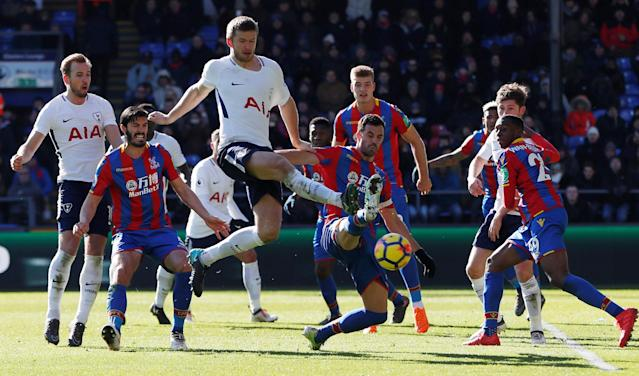 "Soccer Football - Premier League - Crystal Palace vs Tottenham Hotspur - Selhurst Park, London, Britain - February 25, 2018 Tottenham's Eric Dier in action with Crystal Palace's Luka Milivojevic Action Images via Reuters/Paul Childs EDITORIAL USE ONLY. No use with unauthorized audio, video, data, fixture lists, club/league logos or ""live"" services. Online in-match use limited to 75 images, no video emulation. No use in betting, games or single club/league/player publications. Please contact your account representative for further details."
