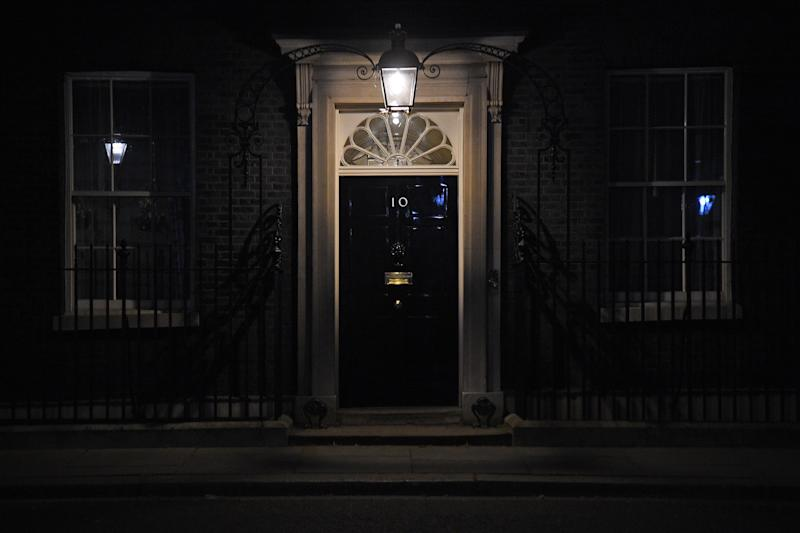 10 Downing Street in London on Sunday evening after Prime Minister Boris Johnson was admitted to hospital for tests as his coronavirus symptoms persist. (Photo by Kirsty O'Connor/PA Images via Getty Images)