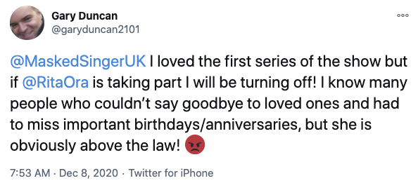 Rita is rumoured to appear on The Masked Singer UK, but fans say they will boycott the show if she does. Photo: Twitter