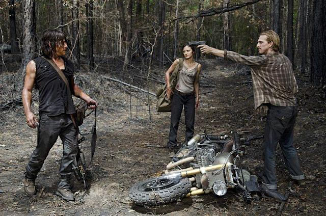 Norman Reedus as Daryl Dixon, Christine Evangelista as Sherry, and Austin Amelio as Dwight in AMC's 'The Walking Dead ' (Photo Credit: Gene Page/AMC)