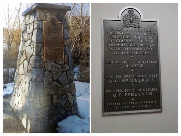 On July 26, 2021, thieves stripped a metal plaque from a memorial cairn in Kamloops, B.C., honouring three RCMP constables killed in a 1962 shootout.  (Ron Hatch / RCMP - image credit)
