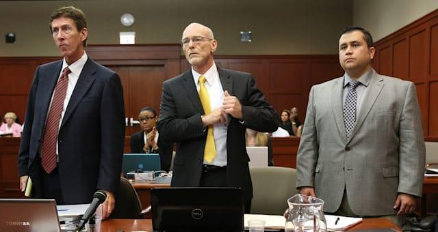 SANFORD, FL - JULY 02:  George Zimmerman (R) with his attorneys, Mark O'Mara (left), and Don West, watch as the jury enters the courtroom on the 17th day of Zimmerman's trial in Seminole circuit court July 2, 2013 in Sanford, Florida.  Zimmerman is charged with second-degree murder for the February 2012 shooting death of 17-year-old Trayvon Martin.  (Photo by Joe Burbank-Pool/Getty Images)