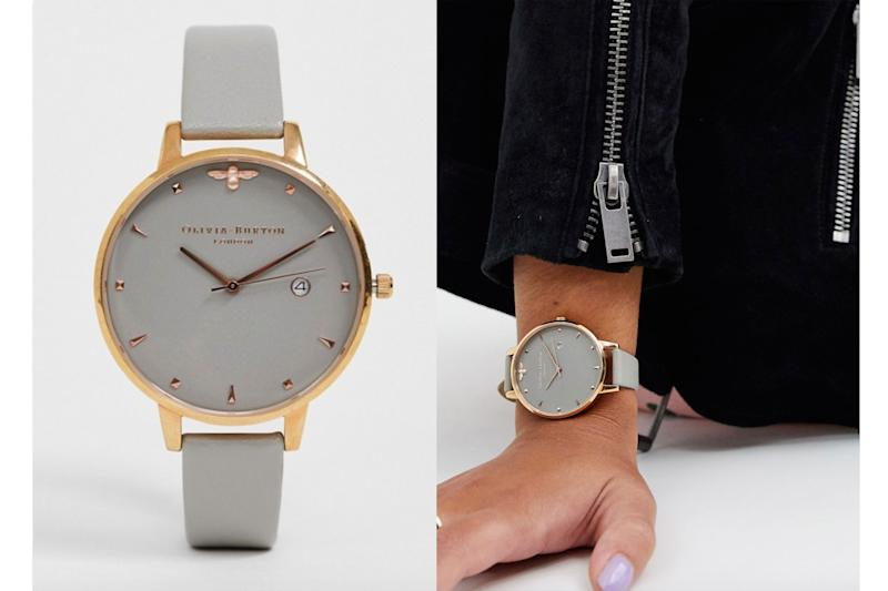 Olivia Burton big dial silver and rose gold watch