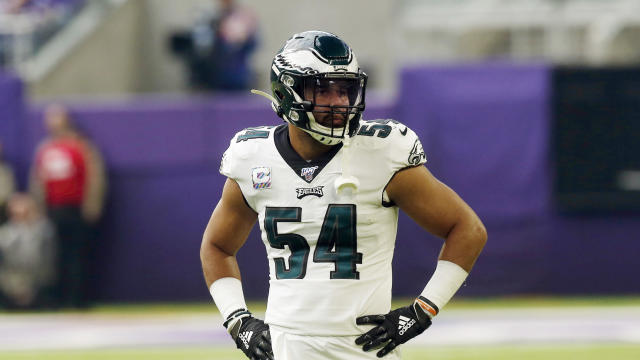 Philadelphia Eagles linebacker Kamu Grugier-Hill lied to medical personnel about suffering a concussion. (AP/Jim Mone)