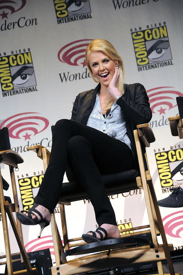 "Charlize Theron attends the ""Snow White and the Huntsman"" conference at  WonderCon 2012 - Day 1 at Anaheim Convention Center on March 17, 2012 in  Anaheim, California."