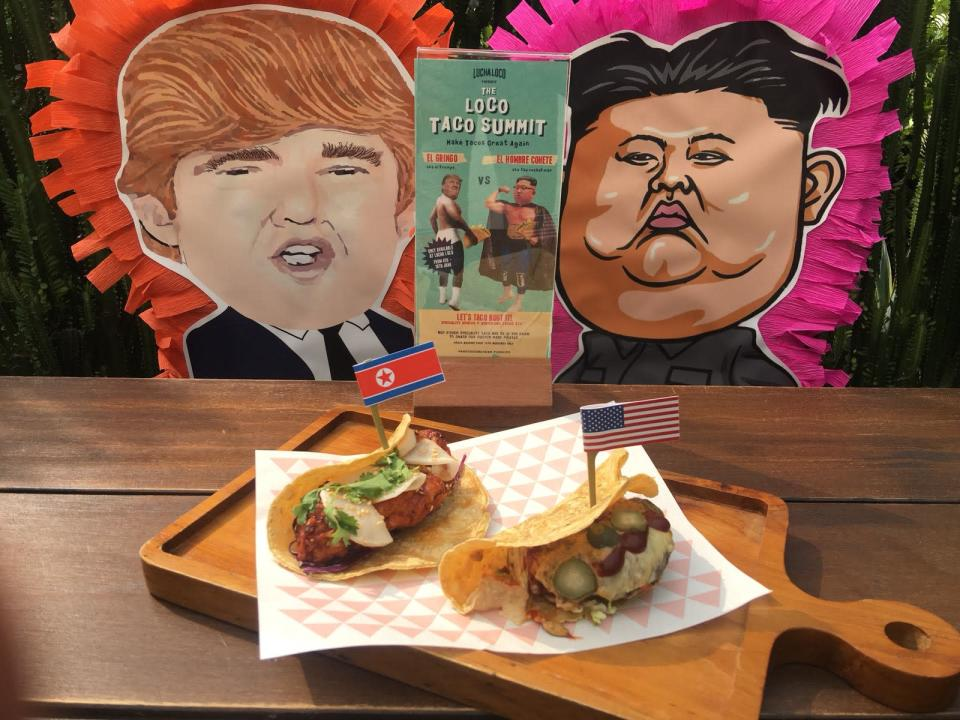 A restaurant in Singapore is featuring Rocket Man and El Trumpo tacos during the Trump and Kim Summit. (Lucha Loco)