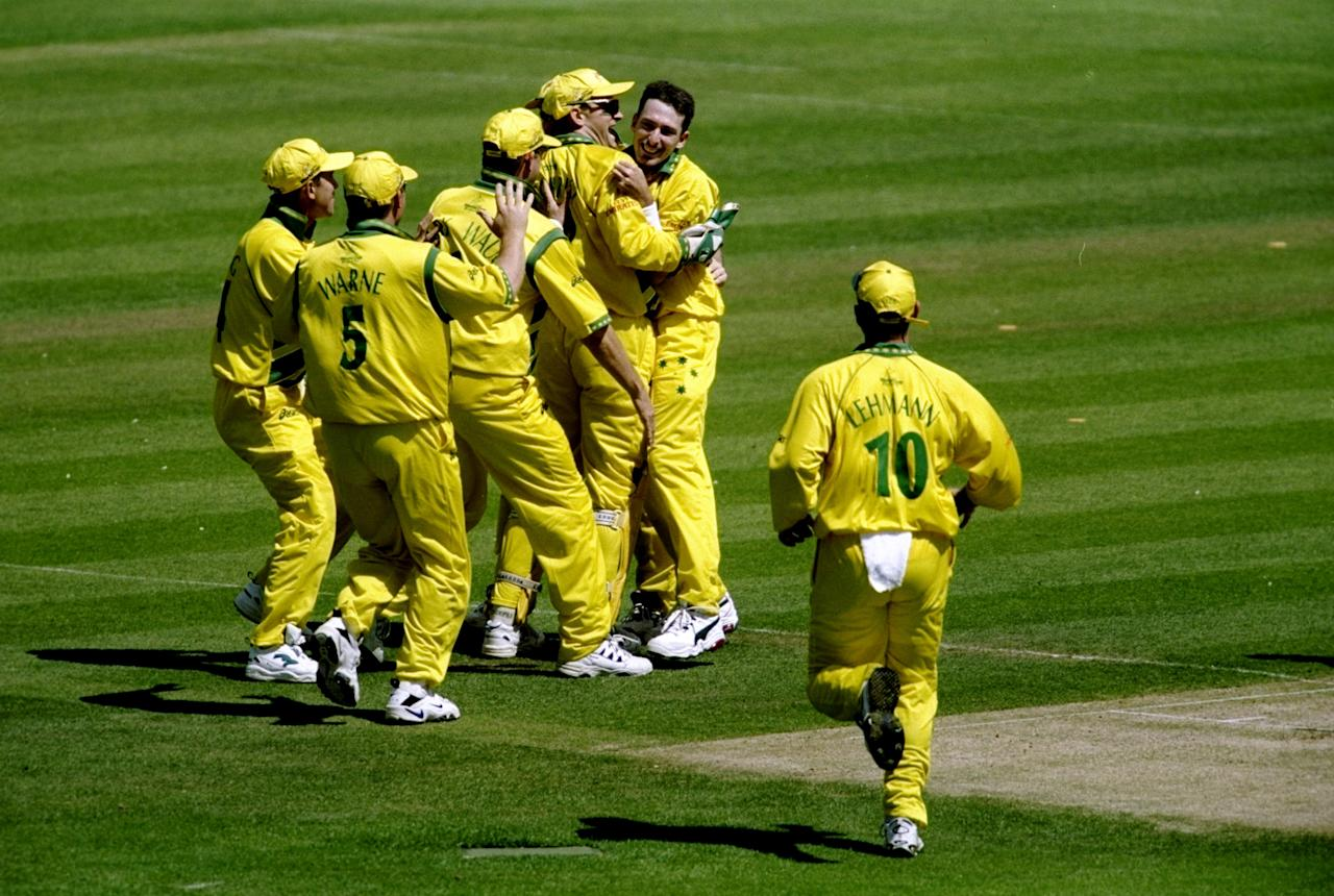 20 Jun 1999:  Australia celebrate as Damien Fleming takes a Pakistan wicket during the Cricket World Cup Final at Lord's in London. Australia won by 8 wickets. \ Mandatory Credit: Adrian Murrell /Allsport