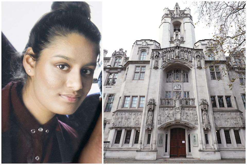 Shamima Begum is attempting to return to the UK to appeal her loss of citizenship, and her case is being heard at the Supreme Court in London. (PA)