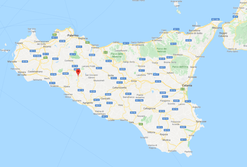 Map of Sicily, with pin dropped at Bivona. Source: Google Maps.