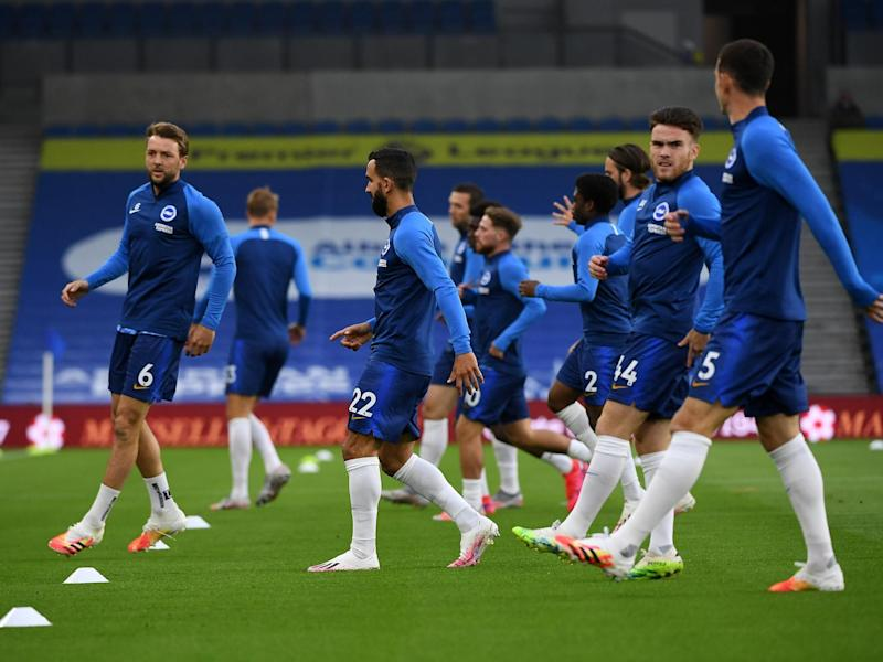 Brighton players warm up before kick-off: 2020 Pool