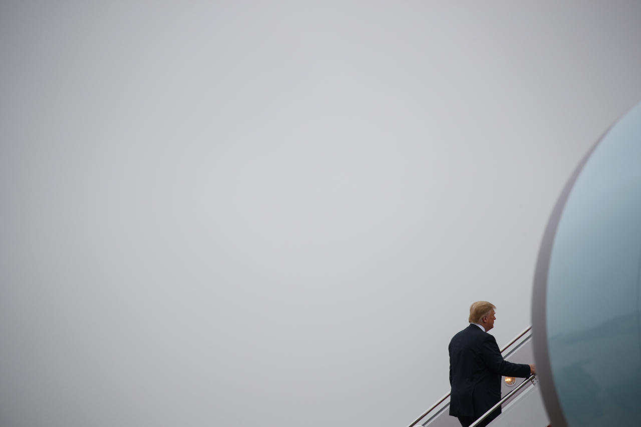 President Donald Trump boards Air Force One for a trip to Las Vegas, Saturday, June 23, 2018, in Andrews Air Force Base, Md. (AP Photo/Evan Vucci)