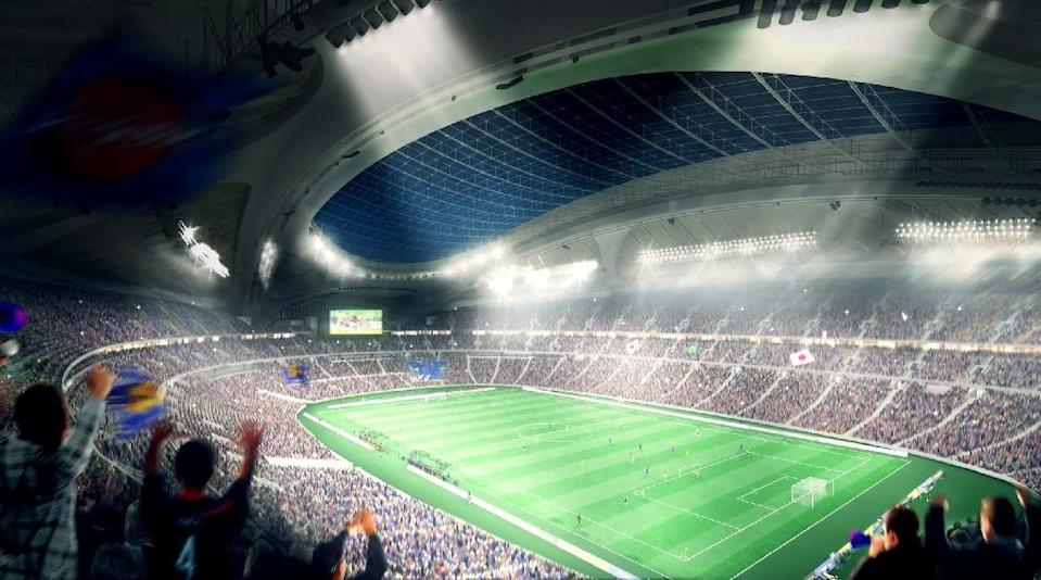 This illustration released from Japan Sport Council on May 28, 2014 shows an artist's impression of the new National Stadium for the 2020 Olympic Games in Tokyo, designed by Iraqi-British architect Zaha Hadid (AFP Photo/Japan Sport Council)