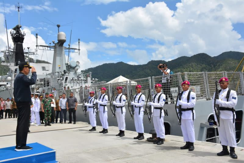 Indonesian President Joko Widodo visits a military base at Natuna, Indonesia, near the South China Sea