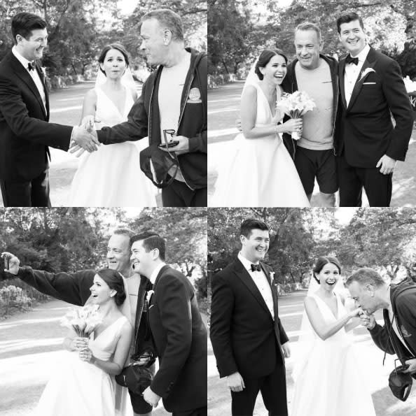 Tom Hanks and bride and groom in Central Park