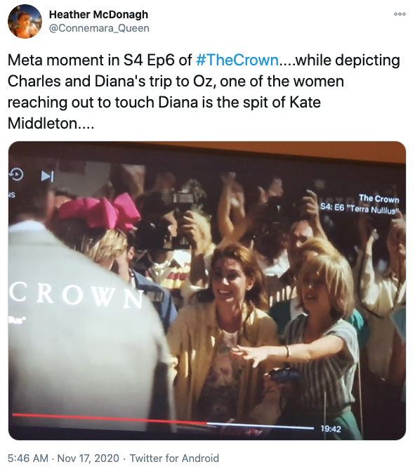 A screenshot of a female extra in a crowd who looks like Kate Middleton in The Crown season four, episode six.