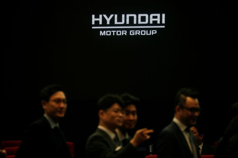 Employees of Hyundai Motor Group attend the company's new year ceremony in Seoul