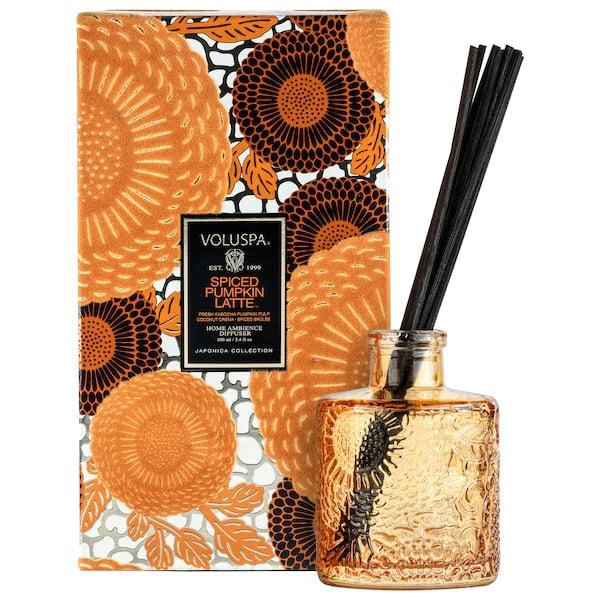 "<p>Though its named for an iconic coffee drink, this <product href=""https://www.sephora.com/product/voluspa-spiced-pumpkin-latte-home-diffuser-P462413?skuId=2369684&amp;icid2=products%20grid:p462413:product"" target=""_blank"" class=""ga-track"" data-ga-category=""internal click"" data-ga-label=""https://www.sephora.com/product/voluspa-spiced-pumpkin-latte-home-diffuser-P462413?skuId=2369684&amp;icid2=products%20grid:p462413:product"" data-ga-action=""body text link"">Voluspa Spiced Pumpkin Latte Home Diffuser</product> ($26) actually smells like a sweet pumpkin dessert adding vanilla marshmallow and cinnamon-spiced bruleé, too.</p>"