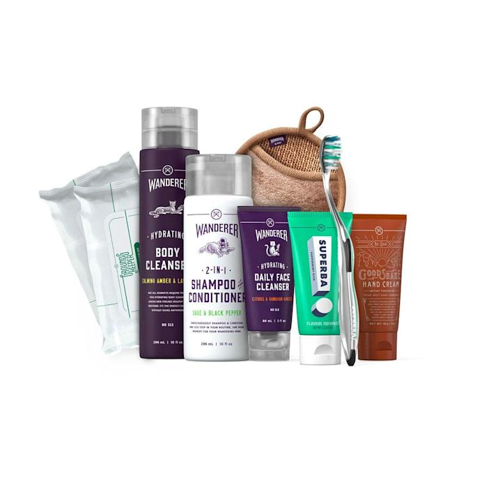 """Be the one who spoils Dad for a change with Dollar Shave Club's eight-piece grooming gift set, featuring a mix of bathroom essentials like toothpaste, face cleanser, hand cream, and a shower cloth. $45, Dollar Shave Club. <a href=""""https://www.dollarshaveclub.com/gift/sets/care-package-two"""" rel=""""nofollow noopener"""" target=""""_blank"""" data-ylk=""""slk:Get it now!"""" class=""""link rapid-noclick-resp"""">Get it now!</a>"""