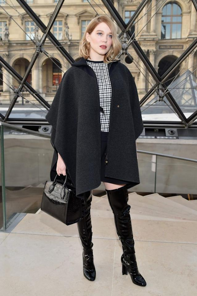 <p>Lea Seydoux arrived in patent thigh highs and a wool cape. <i>[Photo: Getty]</i> </p>