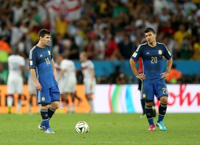 Sergio Aguero, right, and new Barcelona team-mate Lionel Messi, left, suffered World Cup heartache with Argentina in 2014, losing to Germany in the final