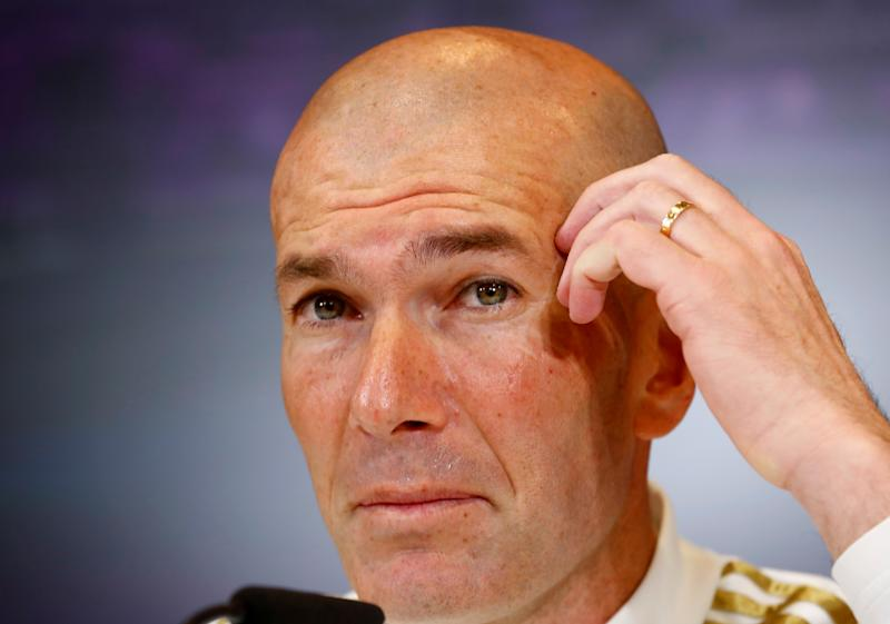 Soccer Football - Real Madrid Press Conference - Ciudad Real Madrid, Madrid, Spain - February 29, 2020 Real Madrid coach Zinedine Zidane during the press conference REUTERS/Juan Medina