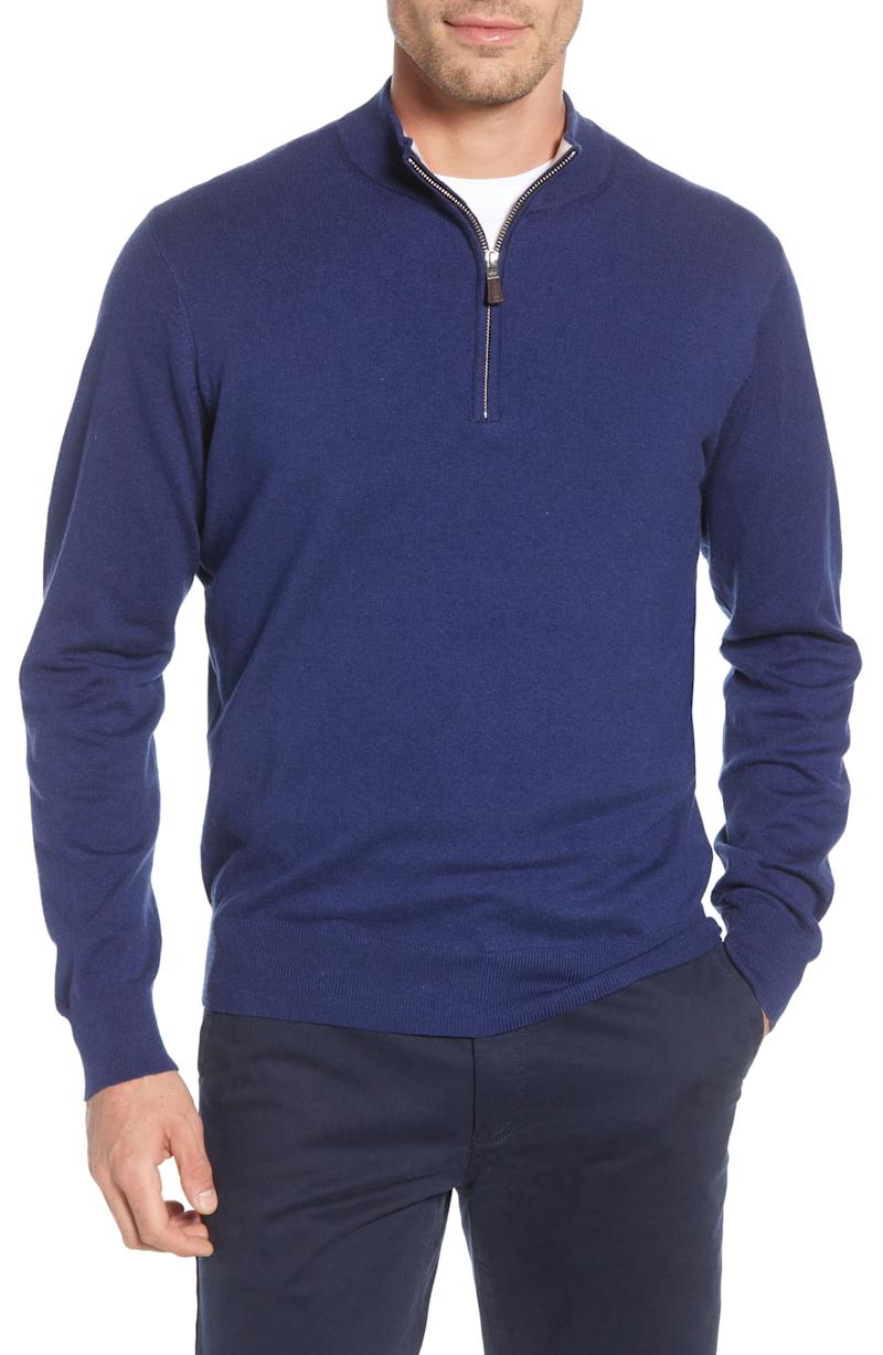 Peter Millar Crown Quarter Zip Pullover Sweater. Image via Nordstrom.