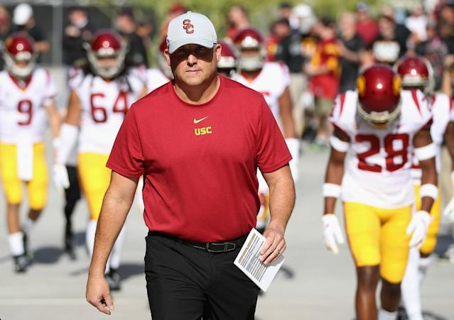 "USC football coach Clay Helton isn't concerned about losing spring practice time. His focus now is on keeping his players healthy. <span class=""copyright"">(Christian Petersen / Getty Images)</span>"