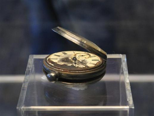 A pocket watch recovered from the RMS Titanic is on display during the Titanic Auction preview by Guernsey's Auction House in New York January 5, 2012.