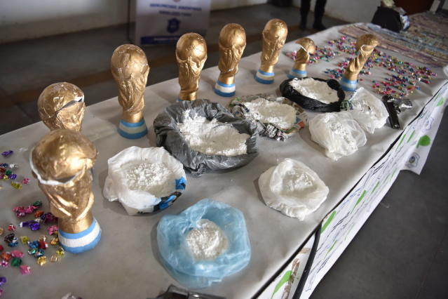 """The so-called """"Narcos de la Copa"""" organization hid cocaine in fake World Cup trophies. The organization was busted in Argentina on Friday. (AP)"""
