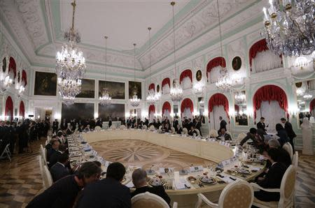 G20 leaders attend the working dinner after their session of the G20 Summit in Peterhof