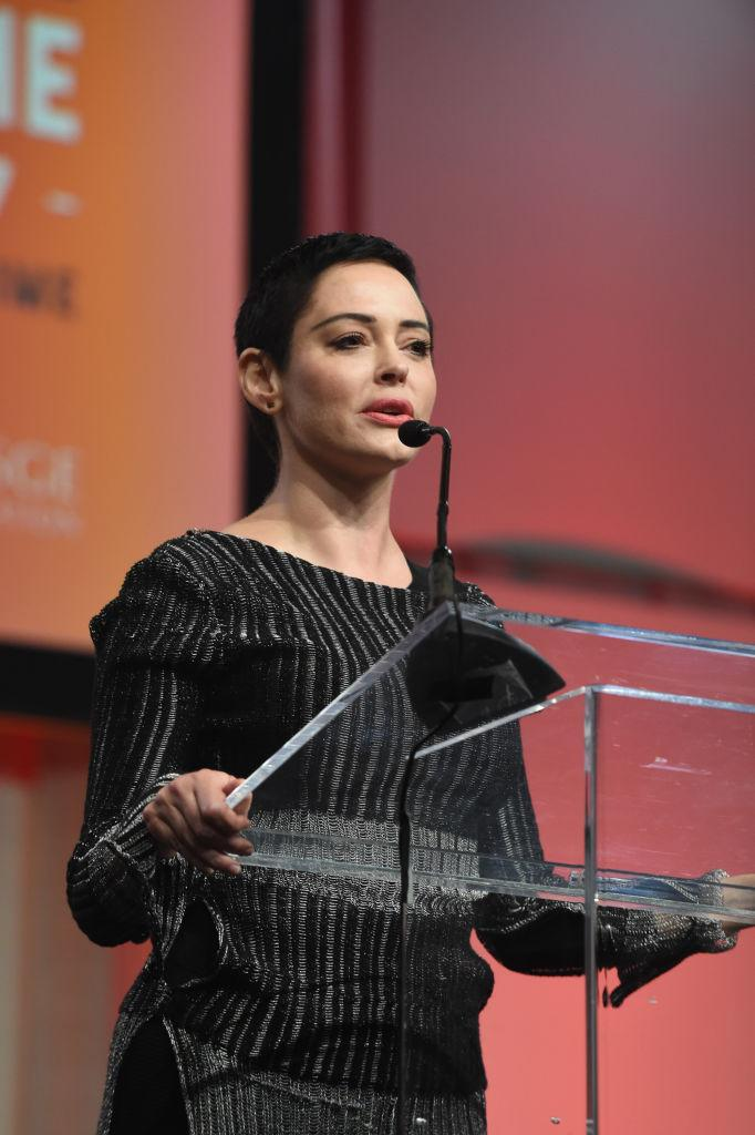 Rose McGowan speaks at The Women's Convention after making her allegations public. (Photo: Aaron Thornton/Getty Images)