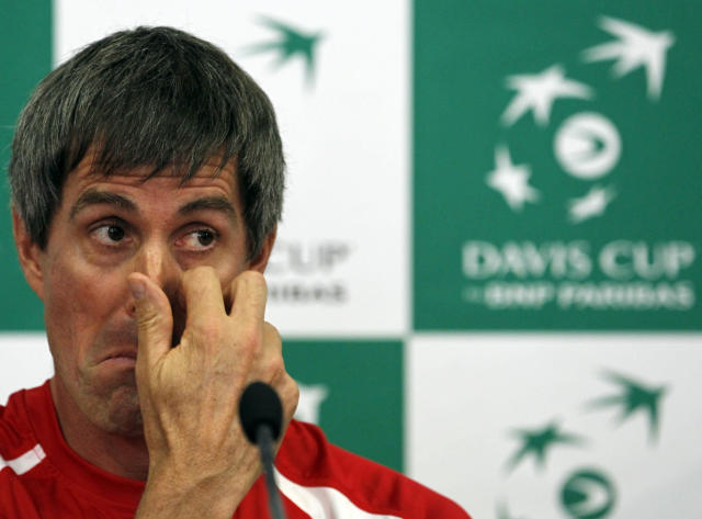 Canada Davis Cup team captain Martin Laurendeau listens to a question during a press conference in Belgrade, Serbia, Wednesday, Sept. 11, 2013. Canada will play against Serbia for the Davis Cup semifinals starting on Sept. 13 in Belgrade. (AP Photo/Darko Vojinovic)