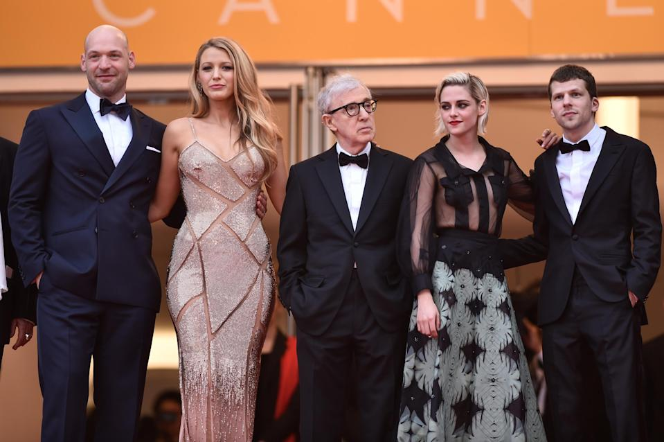 """Actor Corey Stoll, actress Blake Lively, director Woody Allen, actress Kristen Stewart and actor Jesse Eisenberg attend the """"Cafe Society"""" premiere and the Opening Night Gala during the 69th annual Cannes Film Festival at the Palais des Festivals on May 11, 2016 in Cannes, France. (Photo by Pascal Le Segretain/Getty Images)"""