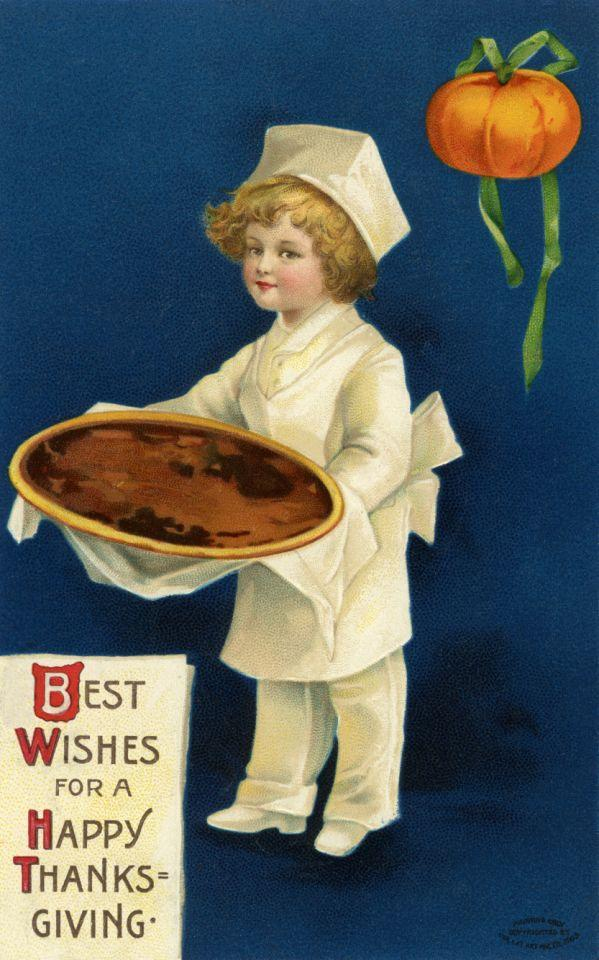 1910 — Best Wishes for a Happy Thanksgiving Postcard — Image by © PoodlesRock/Corbis