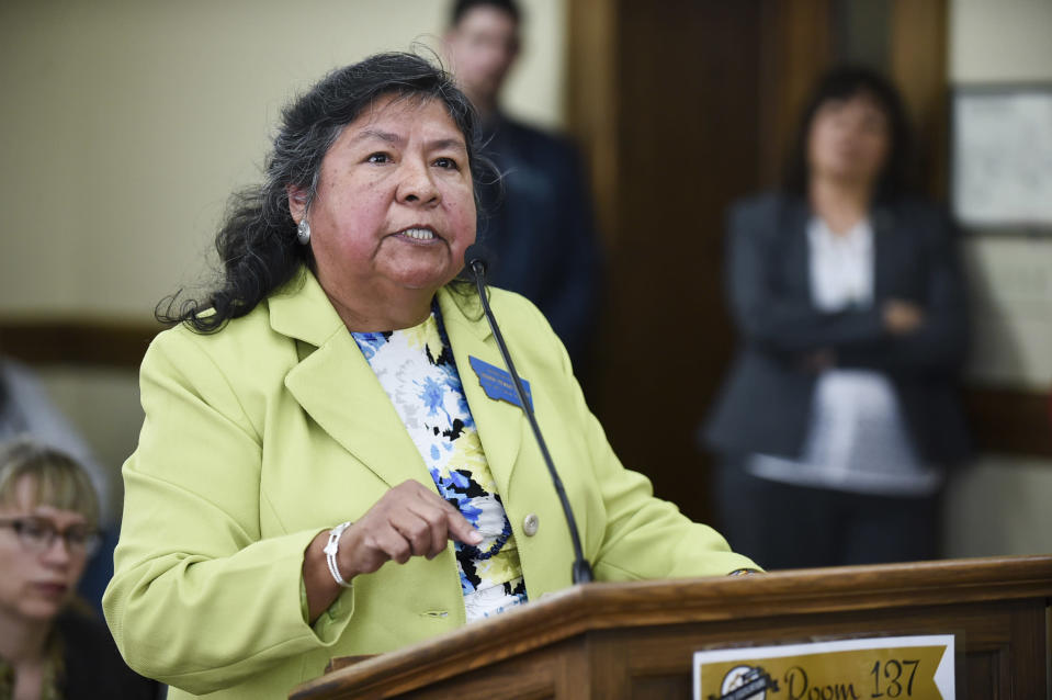 This March 23, 2017 photo shows Democratic Rep. Sharon Stewart Peregoy of Crow Agency argues against a bill during the legislative session in Helena, Montana. Peregoy has introduced a bill during the 2021 session to make it easier for Native Americans living on reservations to vote, including requiring satellite offices and ballot drop boxes to reduce travel time for tribal members to access voting services. Stewart Peregoy's bill was well received by a House committee. (Thom Bridge/Independent Record via AP)