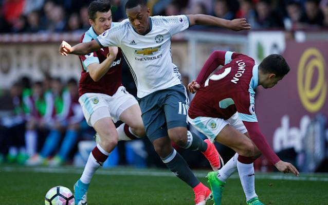 <span>Anthony Martial skips past the Burnley defence</span> <span>Credit: Reuters </span>