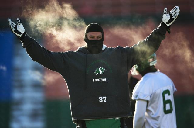 Saskatchewan Roughriders Aaron Hargreaves gestures during team practice in Regina, Saskatchewan, November 22, 2013. The Saskatchewan Roughriders will play against the Hamilton Tiger-Cats in the CFL's 101st Grey Cup in Regina. REUTERS/Mark Blinch (CANADA - Tags: SPORT FOOTBALL)