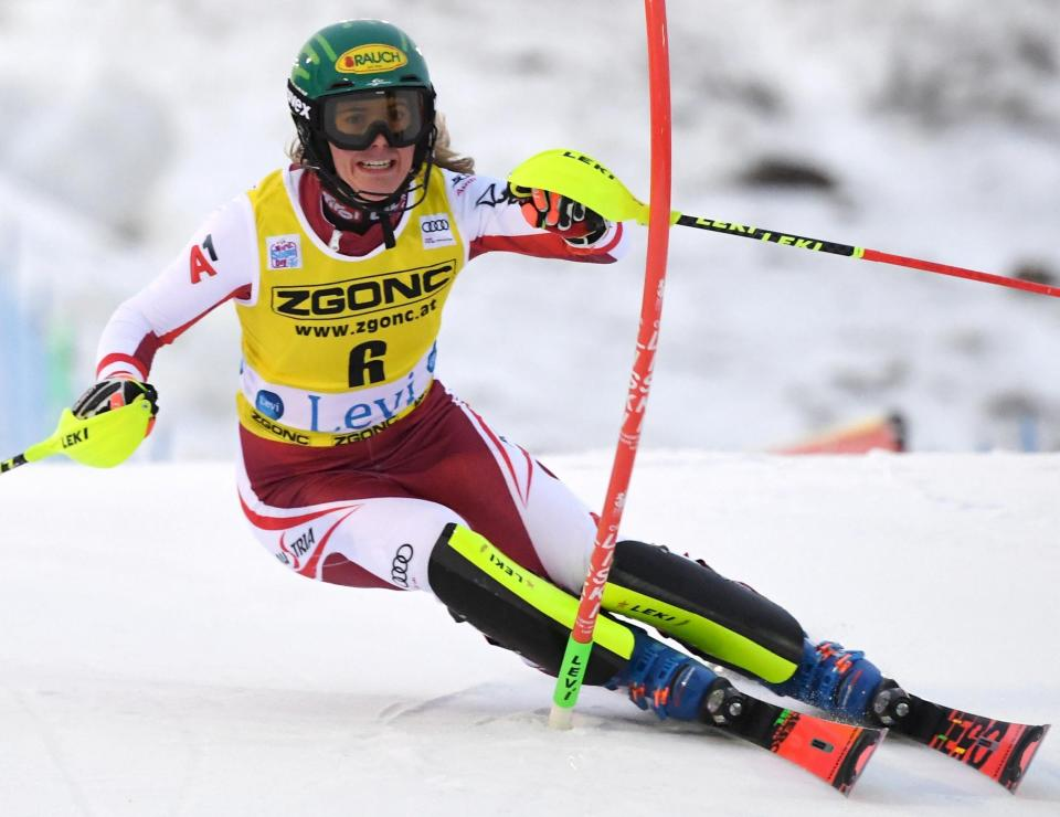 Katharina Liensberger of Austria competes during the first run of the alpine ski, women's World Cup slalom in Levi, Finland, Saturday, Nov. 21, 2020. (Jussi Nukari/Lehtikuva via AP)